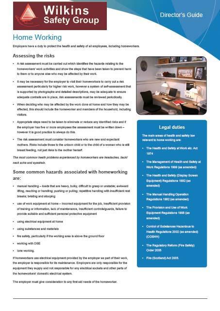 Homeworkers Guidance leaflet
