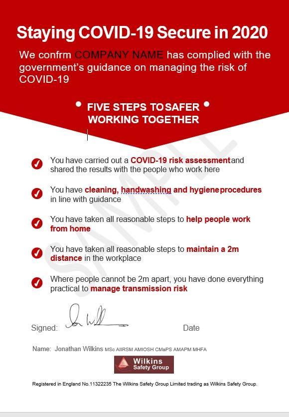 Sample Covid 19 assurance Certificate