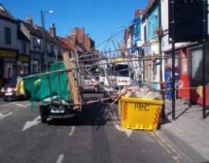 fallen scaffolding