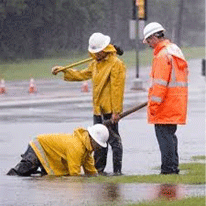 working in the rain